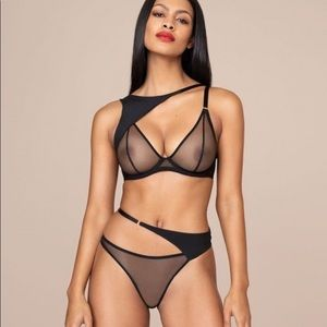 Payton layered stretch-silk crepe bra and brief